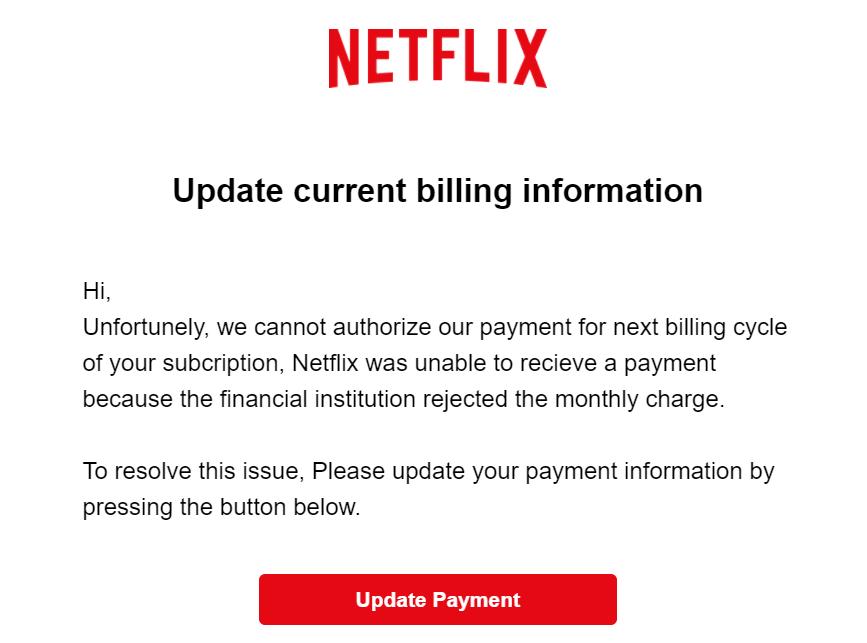 Netflixから英語のフィッシングメールの内容はこれ!